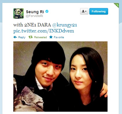 """Twitter: Seungri Updates With A Pic With Dara – """"Our"""