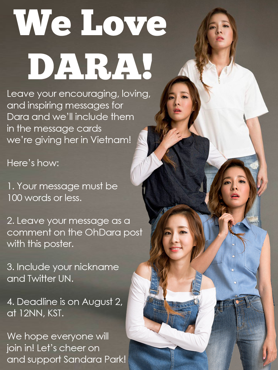 "Admin Post: ""We Love Dara"" Message Cards for Sandara Park in"
